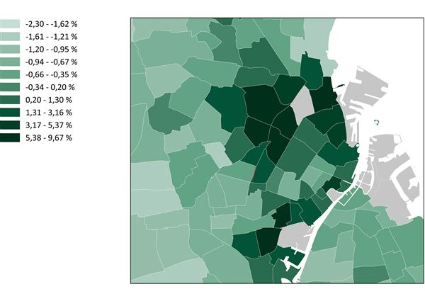 Andelen af højtuddannede stiger langs metro-ringen
