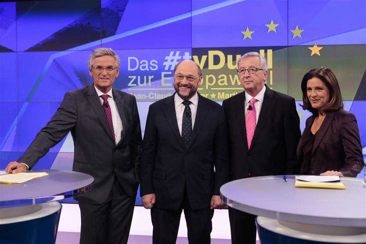 Martin Schulz og Jean-Claude Juncker er to af deltagerne i torsdagens debat mellem EU's præsidentkandidater.