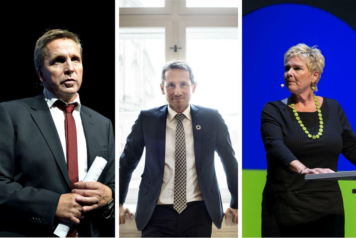 Konsekvensen af at sige nej til en højere pensionsalder er, at vi må skære ned på en lang række velfærdsområder. Og det er præcis de velfærdsområder, som fagbevælgen gerne ser, at vi gør endnu mere ved, siger finansminister Kristian Jensen (V) (midten). Fagbevægelsen med 3F-formand Per Christensen (tv) og Lizette Risgaard (th) i spidsen er helt uenig: 'Den hopper vi altså ikke på,' som Risgaard siger det.