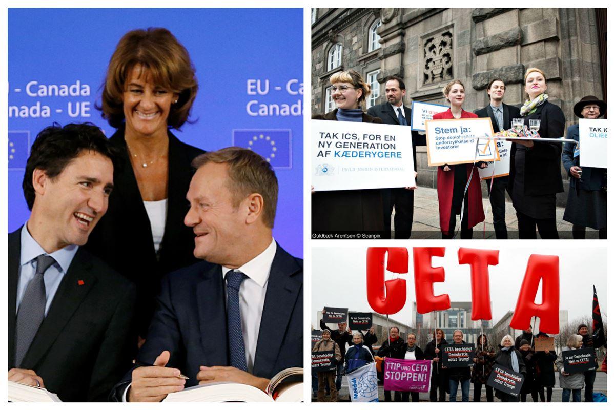 Brede smil, da Canadas premiereminister Justin Trudeau and EU-præsident Donald Tusk underskrev Ceta-aftalen. Smilene var knap så brede blandt demonstranterne foran Christiansborg og i den tyske hovedstad, Berlin.